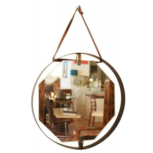 Italian Hexagonal Mirror with Circular Brass Frame