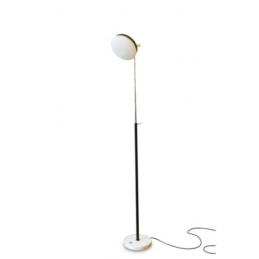 Italian 1950s Chrome Floor Lamp with Frosted Glass, Marble Base by Stillux